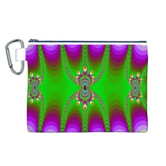 Green And Purple Fractal Canvas Cosmetic Bag (l)