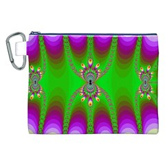 Green And Purple Fractal Canvas Cosmetic Bag (xxl)