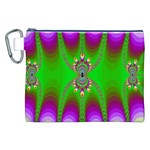 Green And Purple Fractal Canvas Cosmetic Bag (XXL) Front
