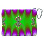 Green And Purple Fractal Canvas Cosmetic Bag (XXL) Back