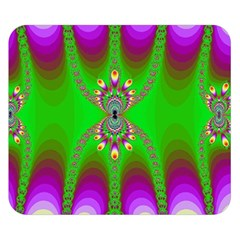 Green And Purple Fractal Double Sided Flano Blanket (Small)