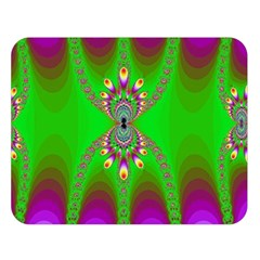 Green And Purple Fractal Double Sided Flano Blanket (large)