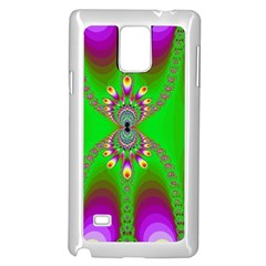 Green And Purple Fractal Samsung Galaxy Note 4 Case (white)