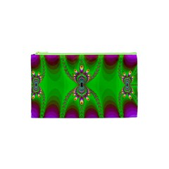Green And Purple Fractal Cosmetic Bag (XS)