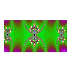 Green And Purple Fractal Satin Wrap