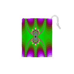 Green And Purple Fractal Drawstring Pouches (xs)