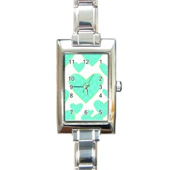 Green Heart Pattern Rectangle Italian Charm Watch