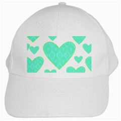 Green Heart Pattern White Cap
