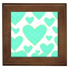 Green Heart Pattern Framed Tiles