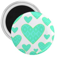 Green Heart Pattern 3  Magnets