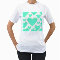Green Heart Pattern Women s T Shirt (white) (two Sided)