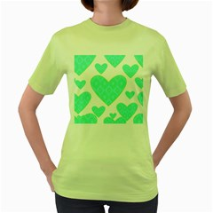 Green Heart Pattern Women s Green T Shirt