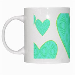 Green Heart Pattern White Mugs