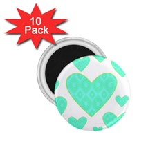 Green Heart Pattern 1 75  Magnets (10 Pack)