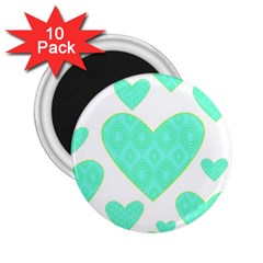 Green Heart Pattern 2 25  Magnets (10 Pack)