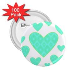 Green Heart Pattern 2 25  Buttons (100 Pack)
