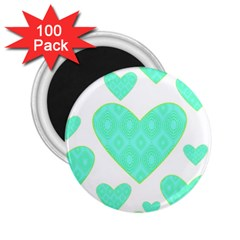Green Heart Pattern 2 25  Magnets (100 Pack)