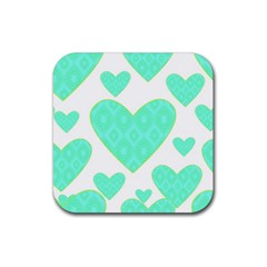 Green Heart Pattern Rubber Coaster (square)