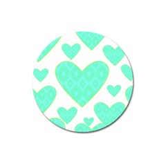Green Heart Pattern Magnet 3  (round)