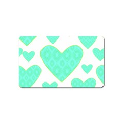 Green Heart Pattern Magnet (Name Card)