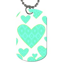 Green Heart Pattern Dog Tag (two Sides)