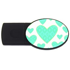 Green Heart Pattern Usb Flash Drive Oval (2 Gb)