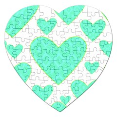 Green Heart Pattern Jigsaw Puzzle (heart)
