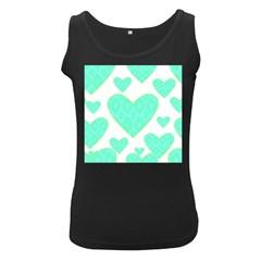 Green Heart Pattern Women s Black Tank Top