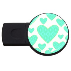 Green Heart Pattern USB Flash Drive Round (4 GB)