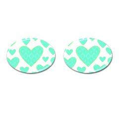 Green Heart Pattern Cufflinks (oval)