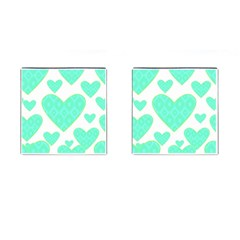 Green Heart Pattern Cufflinks (square)