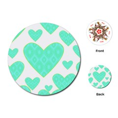 Green Heart Pattern Playing Cards (Round)