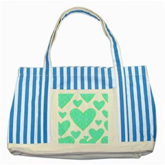 Green Heart Pattern Striped Blue Tote Bag