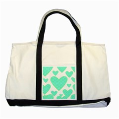 Green Heart Pattern Two Tone Tote Bag