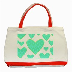 Green Heart Pattern Classic Tote Bag (red)