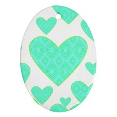 Green Heart Pattern Oval Ornament (two Sides)