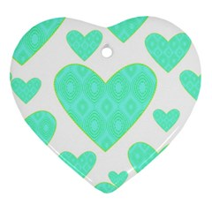 Green Heart Pattern Heart Ornament (two Sides)