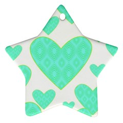 Green Heart Pattern Star Ornament (two Sides)