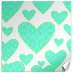 Green Heart Pattern Canvas 12  x 12