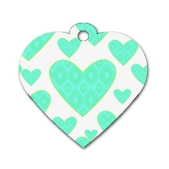 Green Heart Pattern Dog Tag Heart (two Sides)