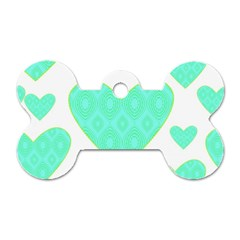 Green Heart Pattern Dog Tag Bone (two Sides)