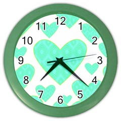 Green Heart Pattern Color Wall Clocks