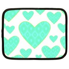 Green Heart Pattern Netbook Case (large)