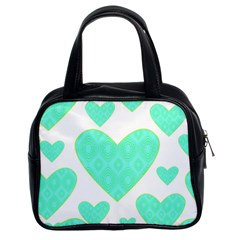 Green Heart Pattern Classic Handbags (2 Sides)