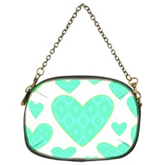 Green Heart Pattern Chain Purses (two Sides)