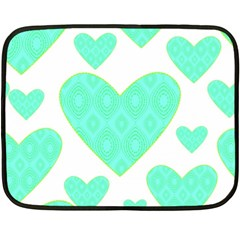 Green Heart Pattern Double Sided Fleece Blanket (mini)