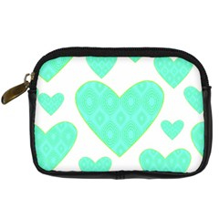 Green Heart Pattern Digital Camera Cases