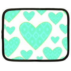 Green Heart Pattern Netbook Case (xl)