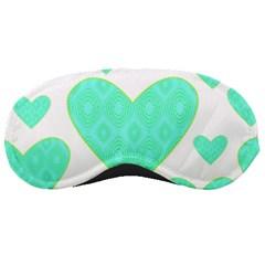 Green Heart Pattern Sleeping Masks
