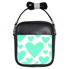 Green Heart Pattern Girls Sling Bags